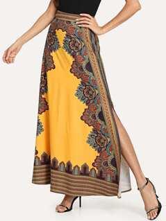 Split Floral Tribal Skirt