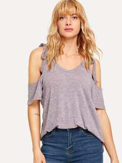 Tie Strap Cold Shoulder Tee