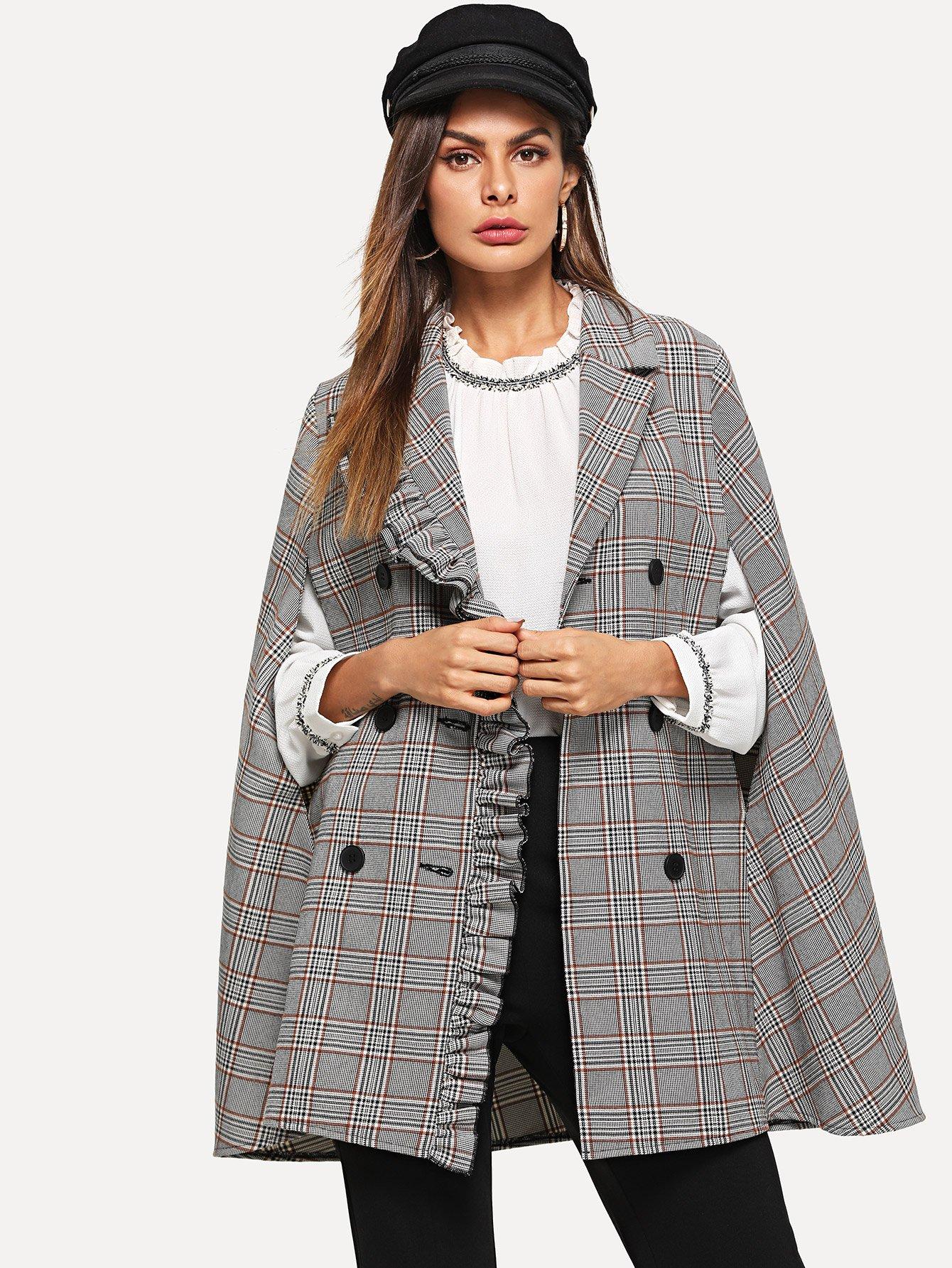 Двубортное пальто в клетку и с кружевными оборками SheIn