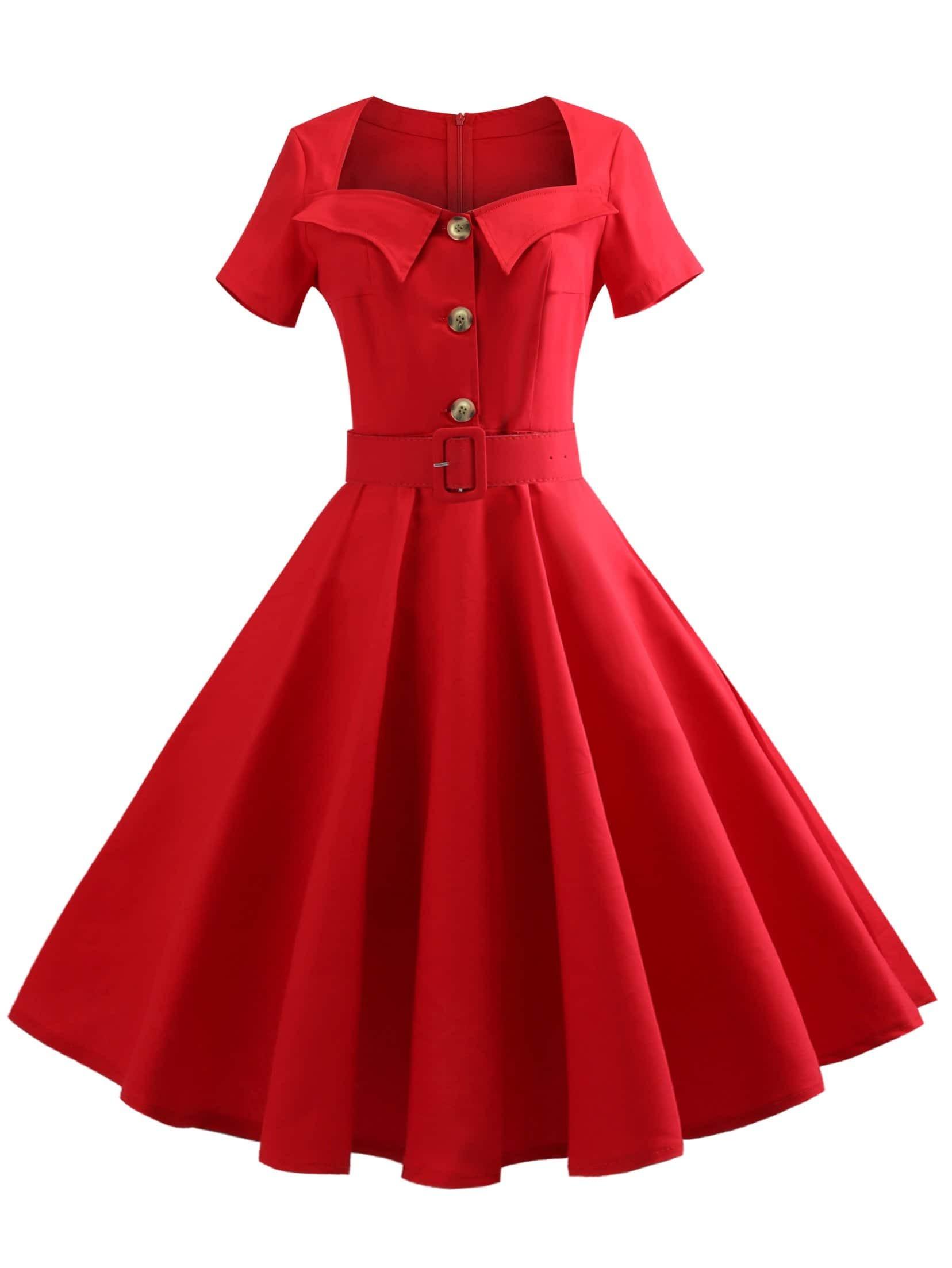 Купить Однобортное платье клеш и с поясом, null, SheIn