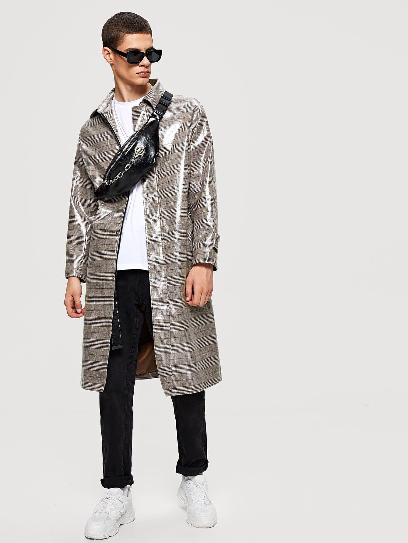 Купить Мужское Клетчатое пальто с регулируемым поясом, Bono, SheIn