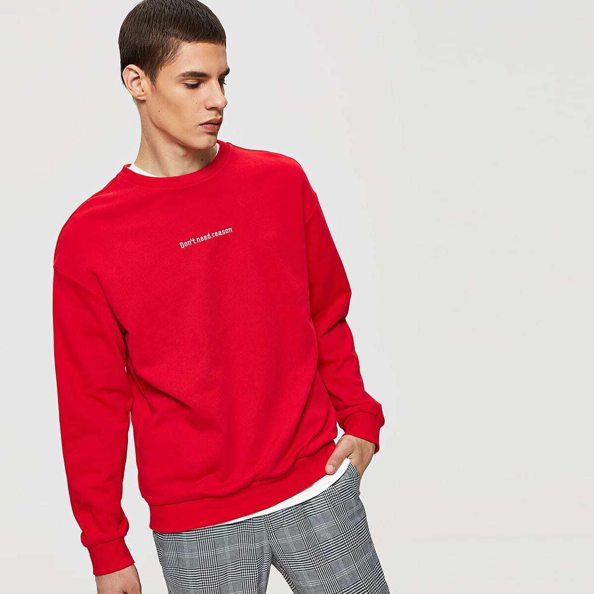 Rode sweatshirt met opschrift