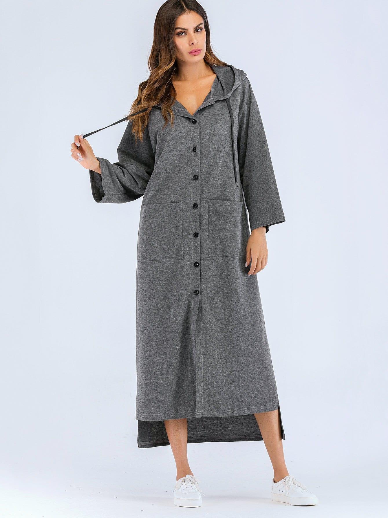 Купить Простое платье с капюшоном и с украшением пуговицы перед одежды, null, SheIn