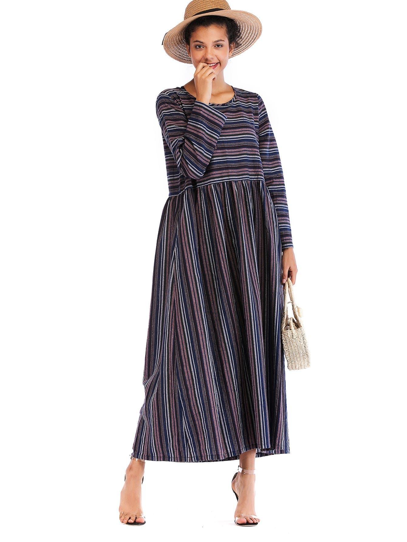 Купить Полосатое платье с карманами, null, SheIn