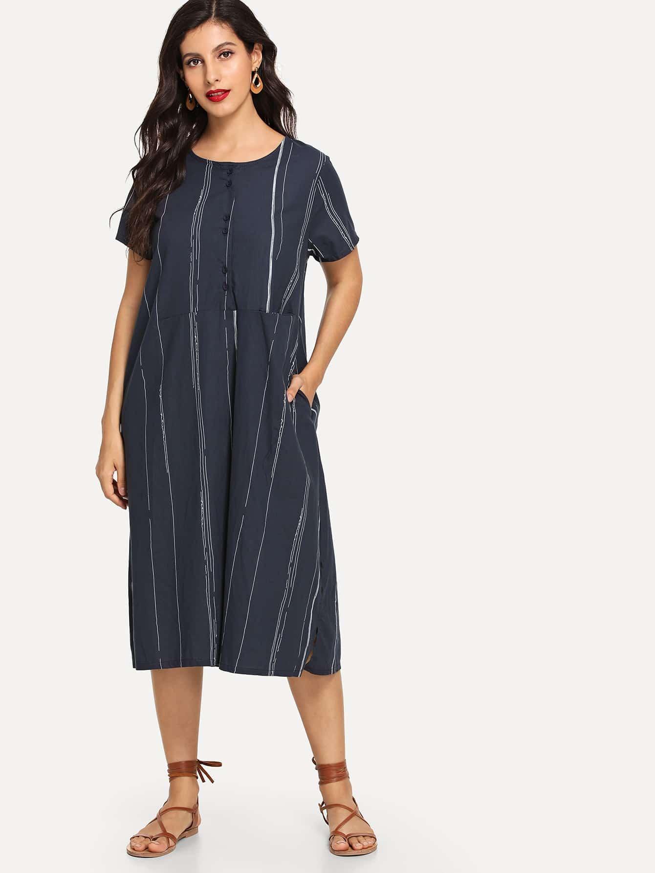 Купить Полосатое платье с украшением пуговицы перед одежды, Jeane, SheIn