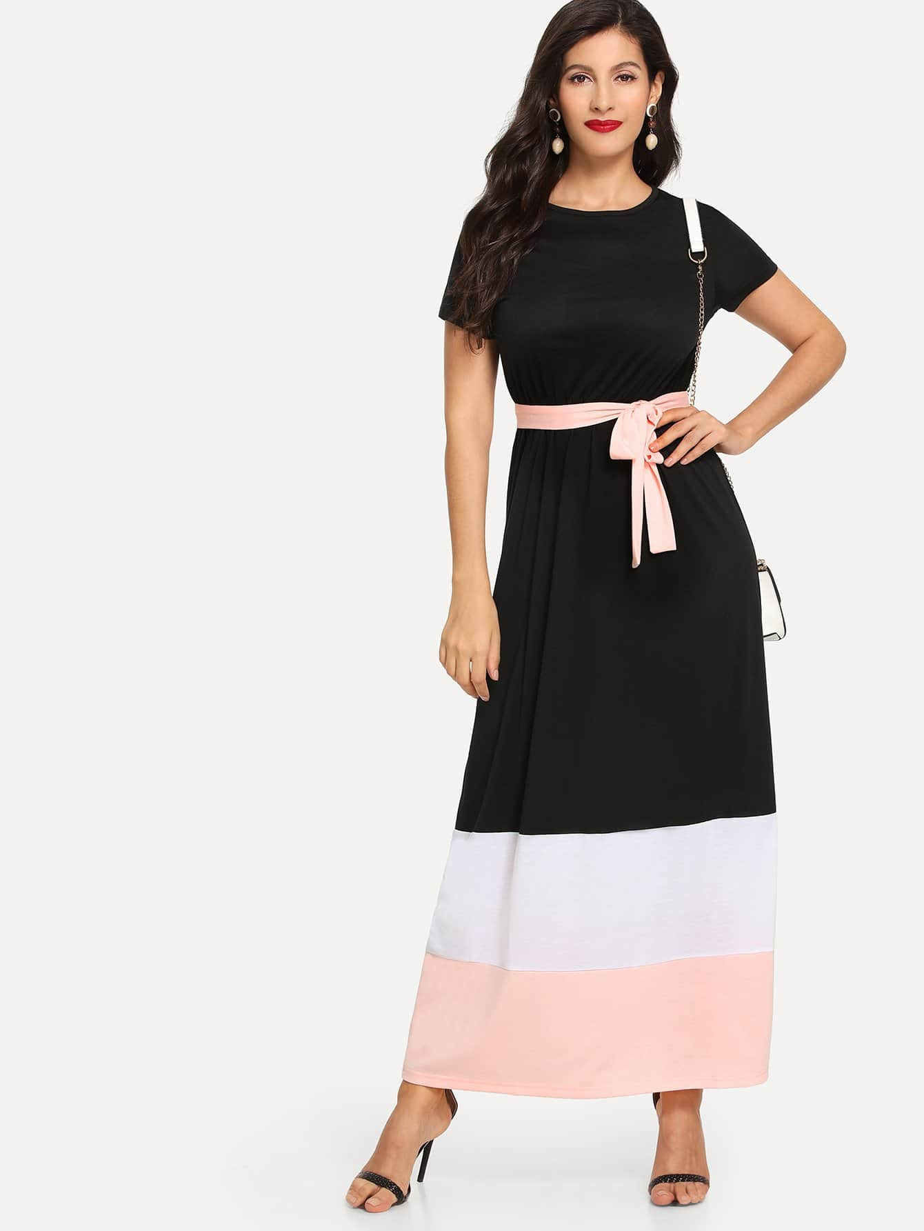 Block Stripe Self Tie Dress