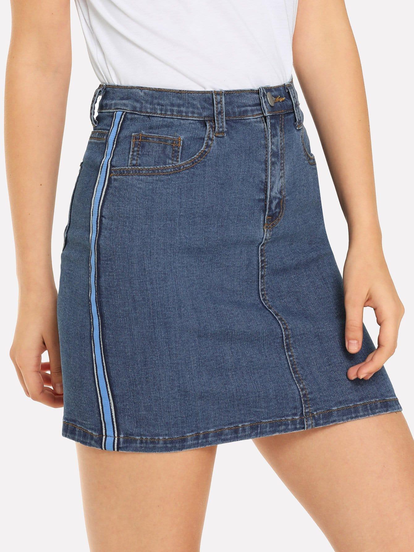 Купить Джинсовая юбка и со симметрическими полосами, Teresa, SheIn