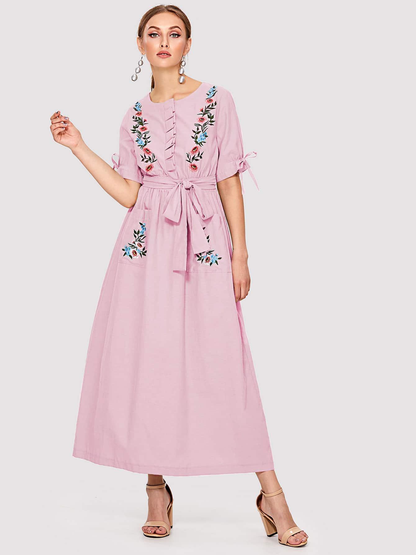 Купить Вышитое карманом платье с длинным рукавом, Dary, SheIn