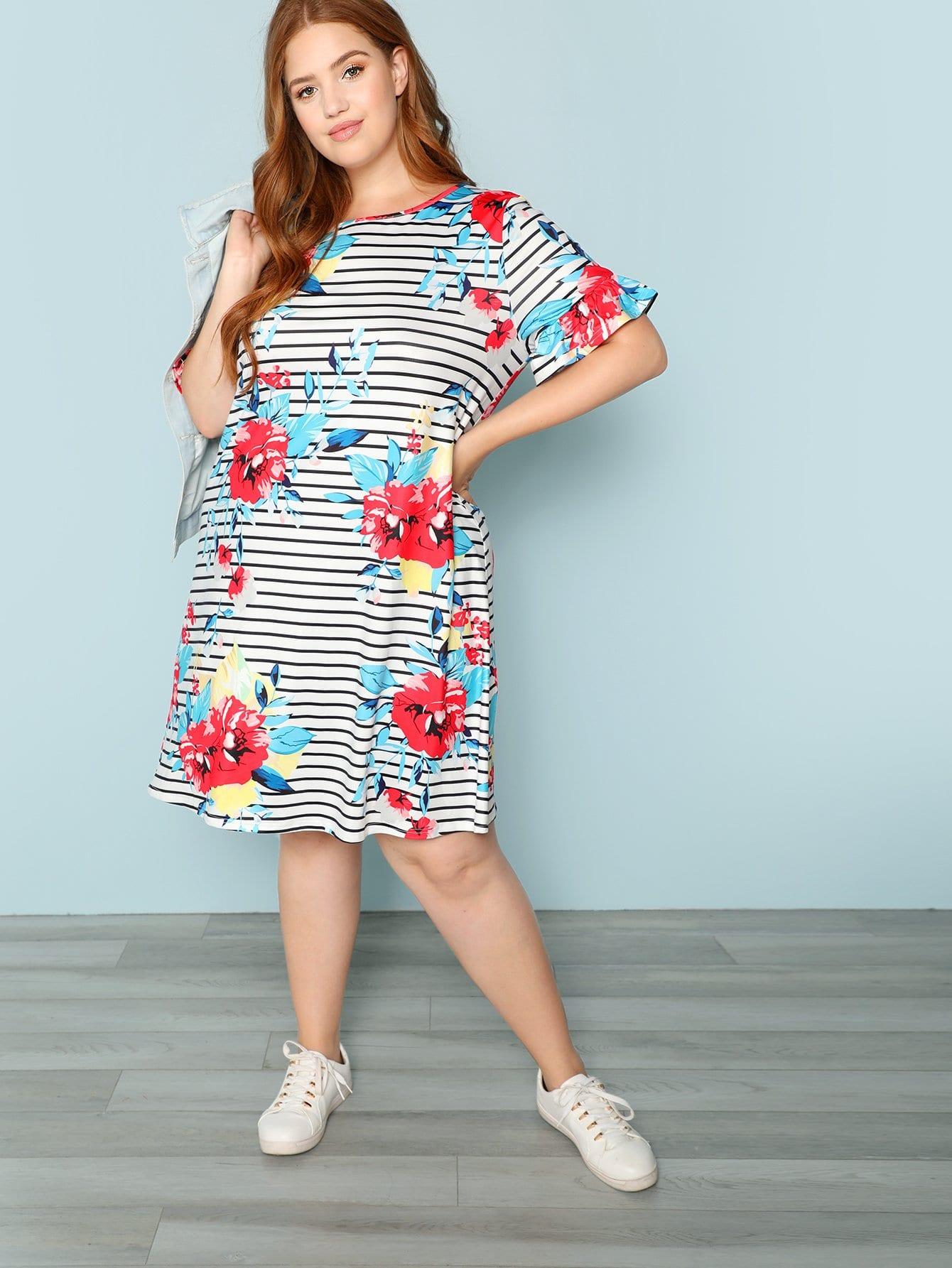 Купить Рубашка с полосой и цветочным платьем, Bree Kish, SheIn