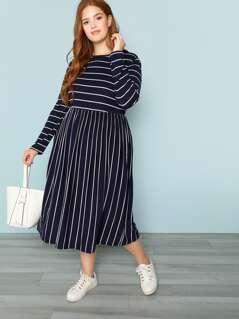 Plus Long Sleeve Striped Dress