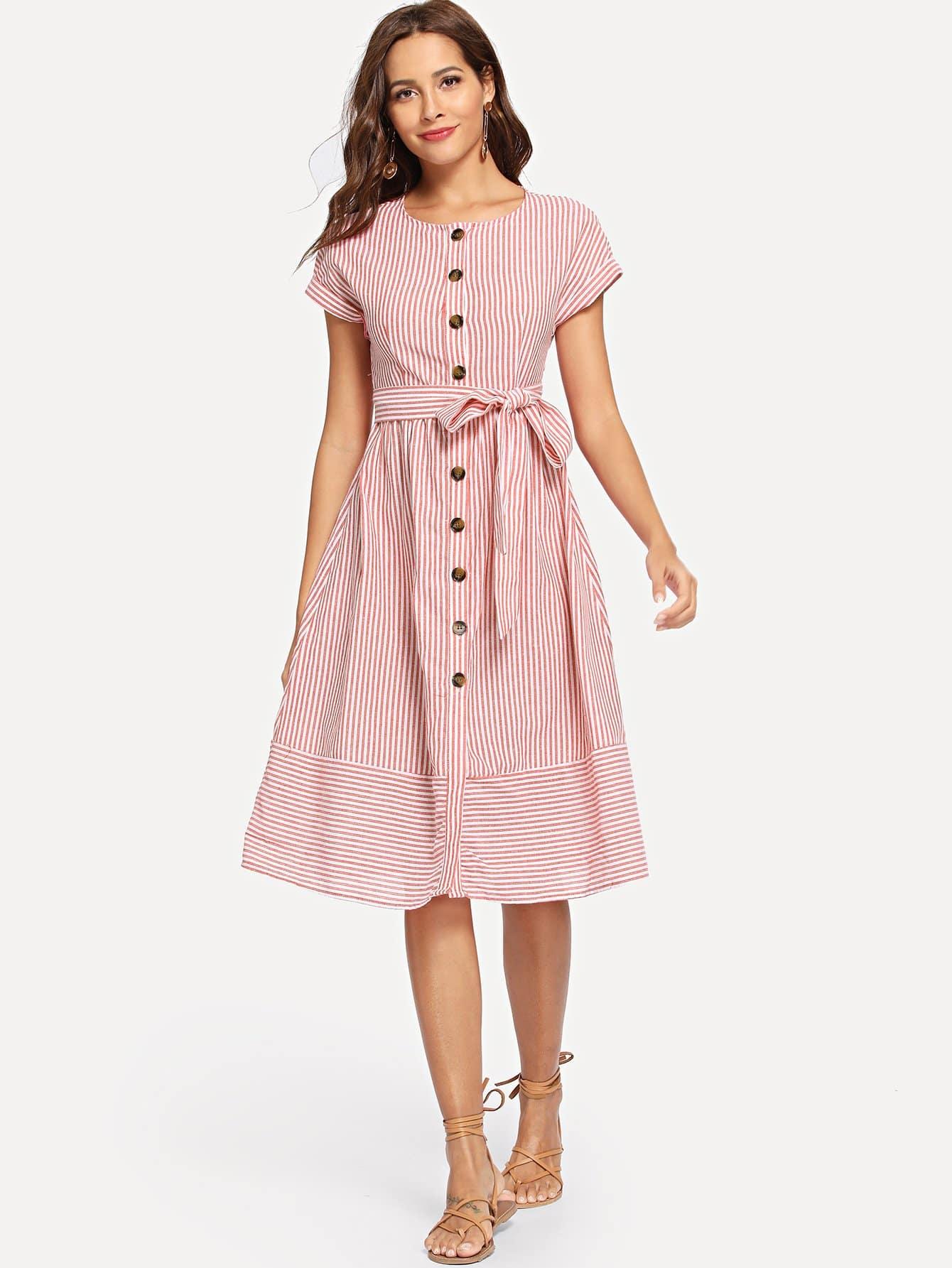 Купить Кнопка через полосатое платье с поясом, Giulia, SheIn