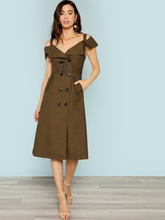 Cold Shoulder Belted Trench Dress