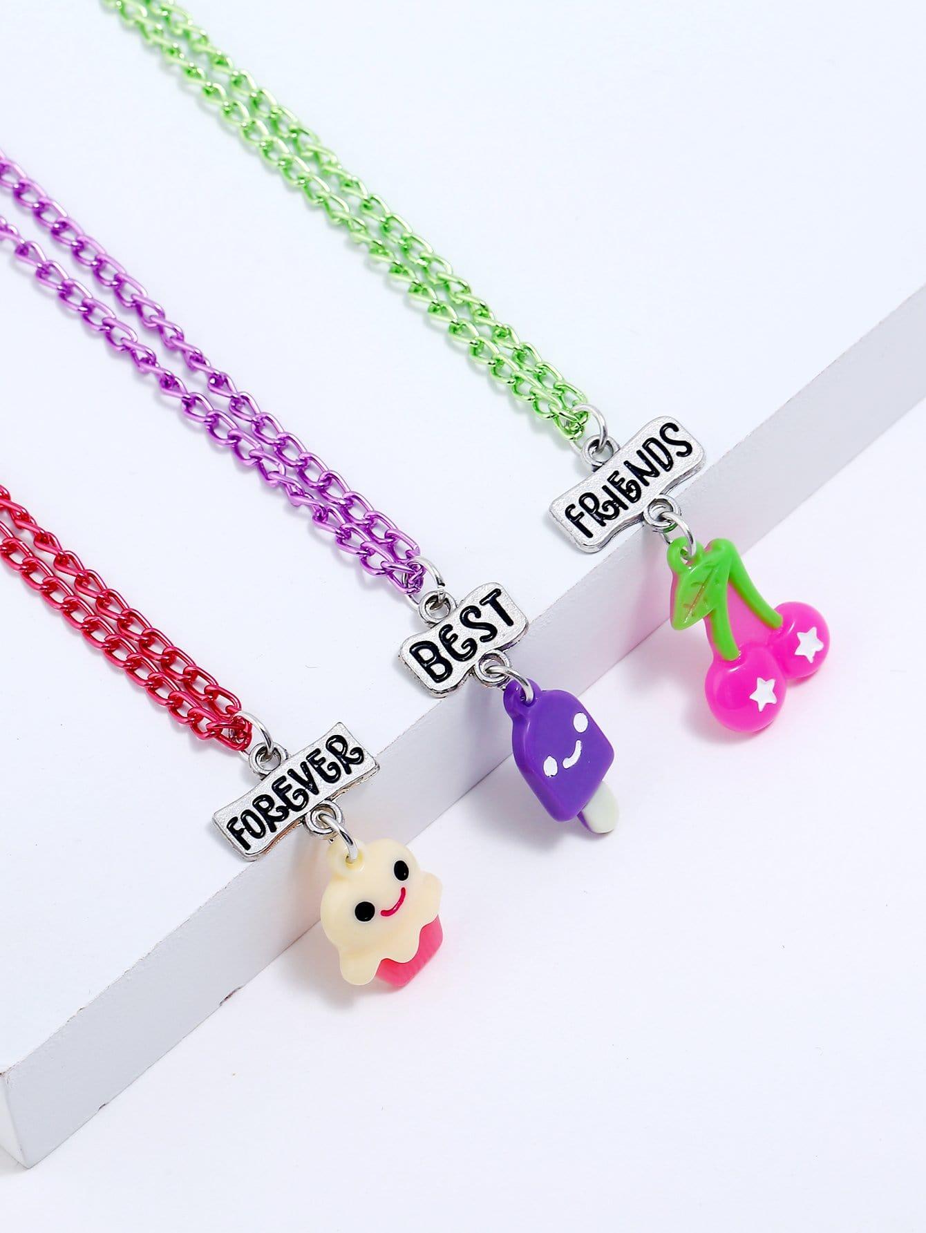 Mädchen Essen Anhänger Halskette Set 3pcs