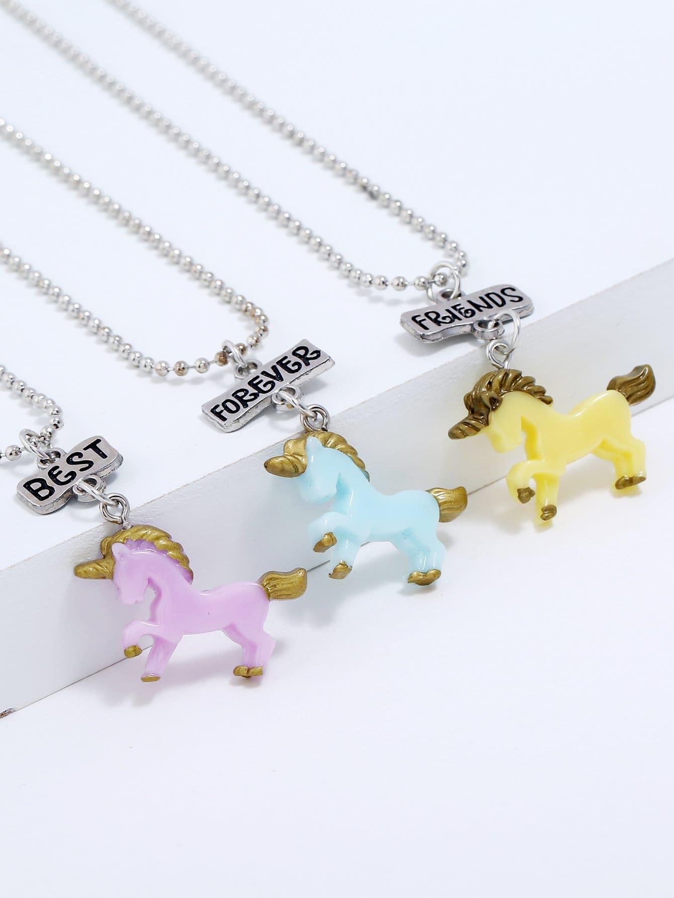 Mädchen Tier Anhänger Halskette Set 3pcs