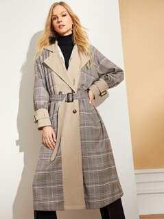 Notched Neck Waist Belted Plaid Coat