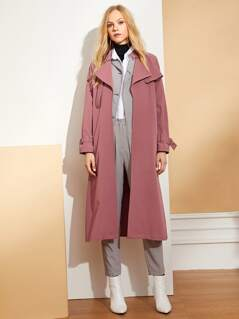 Waist Belted Solid Long Coat