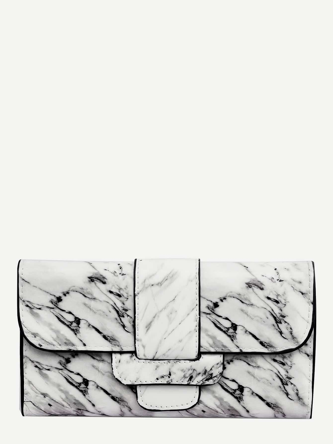 Marble Print Wallet With Card Holder