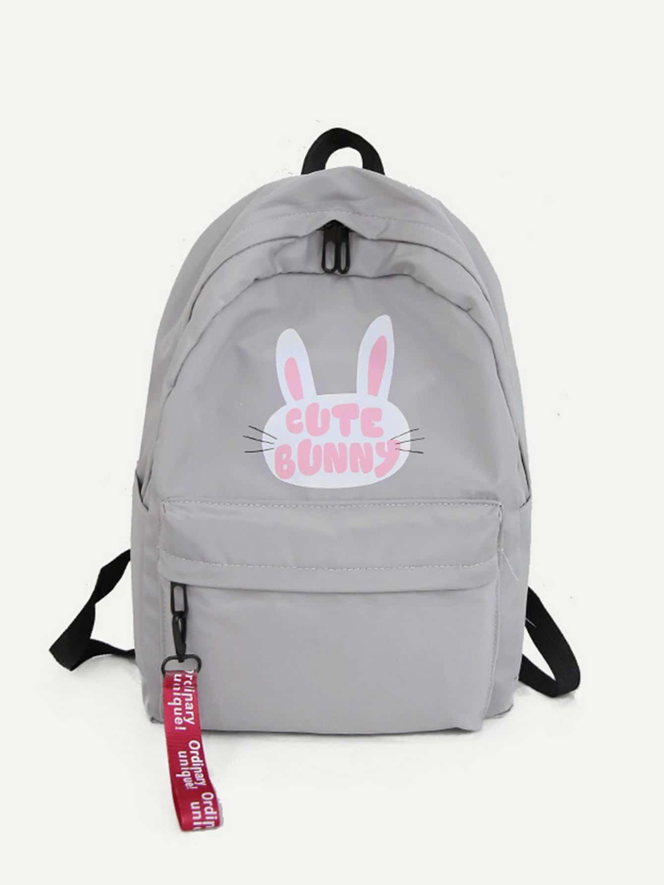 Купить Рюкзак с рисунком кролика и с карманом перед, null, SheIn