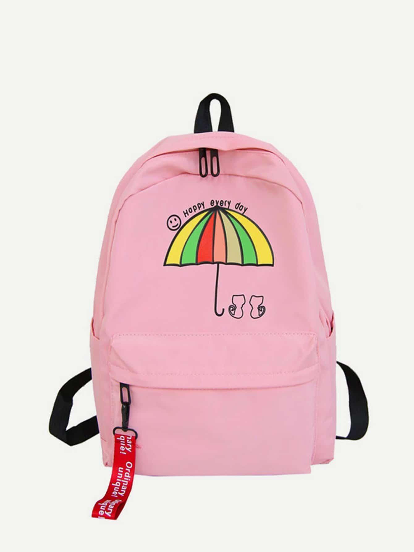 Купить Рюкзак с рисунком зонта и с карманом перед, null, SheIn