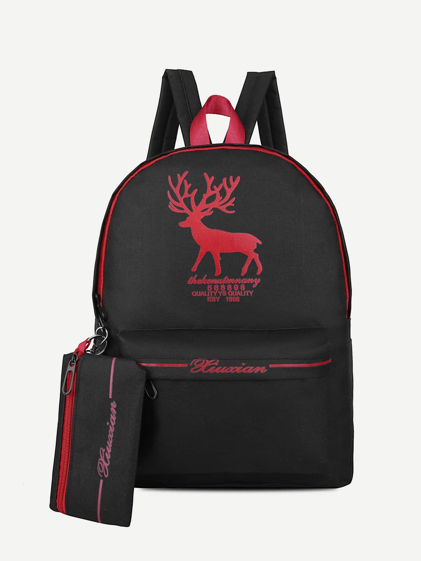 Купить Рюкзак с рисунком оленя и с пеналом для карандашей, null, SheIn