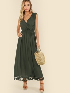 Double V Neck Shirred Waist Tassel Maxi Dress