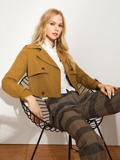 Flap Front Belted Cuff Jacket