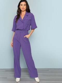 Notch Collar Roll Up Sleeve Surplice Wrap Jumpsuit
