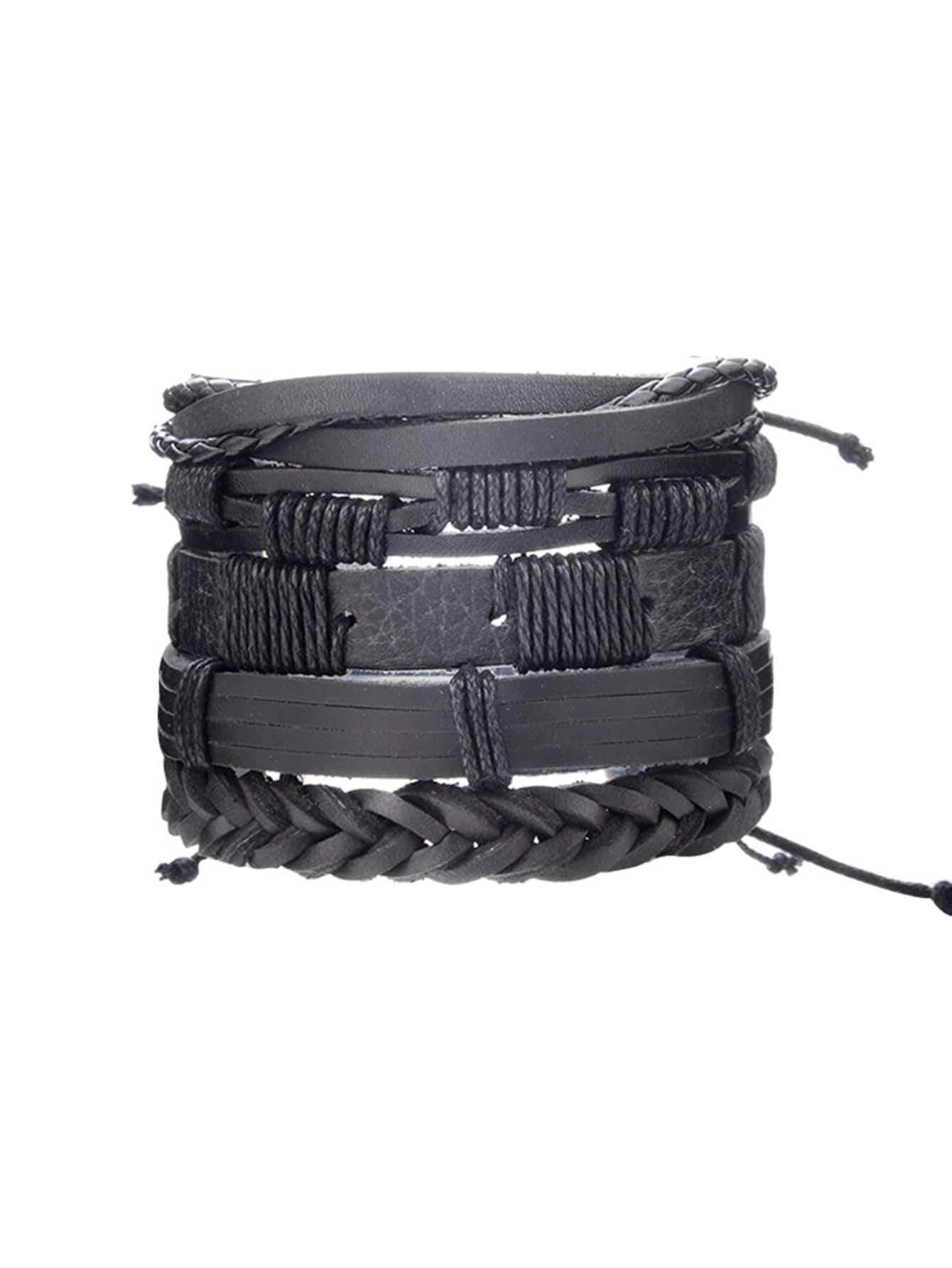 Men Woven Detail Bracelet Set 5pcs