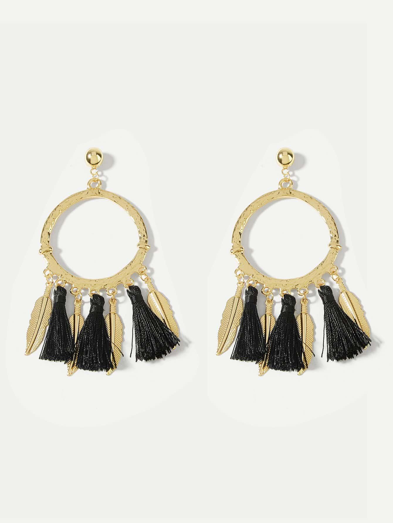 Fringe Tassel Hoop Drop Earrings