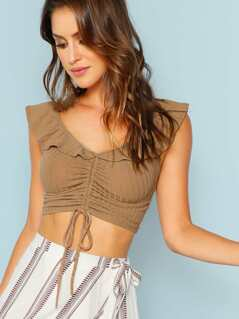 Rib Knit Ruffle Detail Crop Top