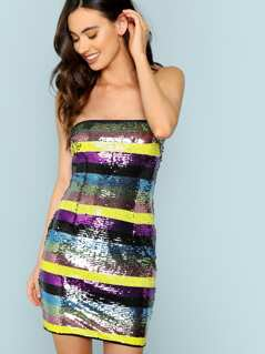 Shimmer Sequin Strapless Dress