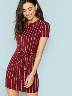 Striped T-Shirt Dress With Waist Tie