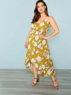 Floral Asymmetric Hem Dress