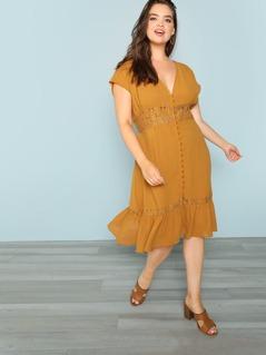 Plus Button Front Lace Trimmed Dress