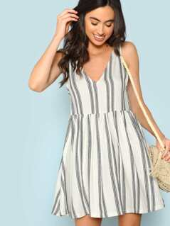 Striped Sleeveless Baby doll Dress