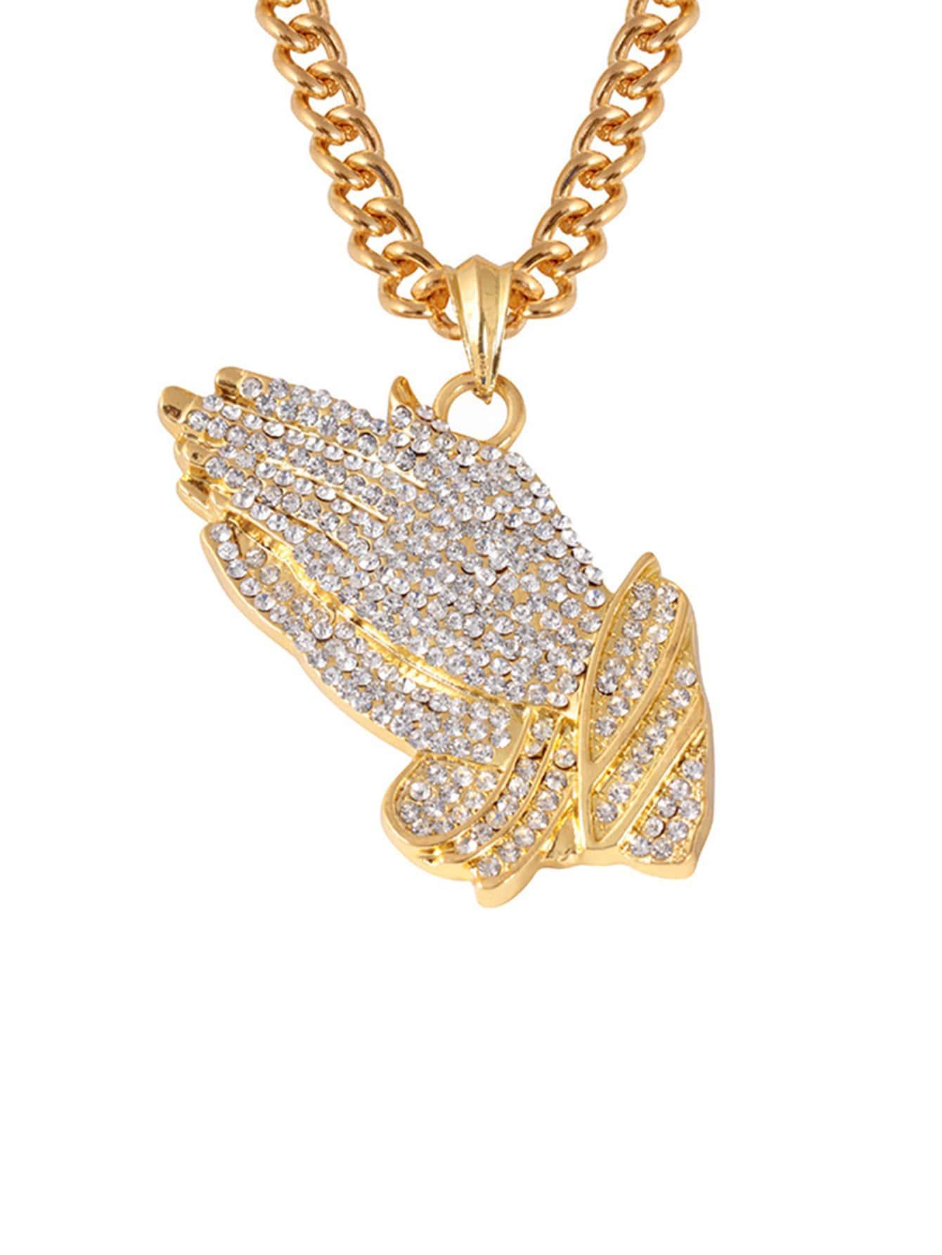 Men Rhinestone Hand Pendant Necklace
