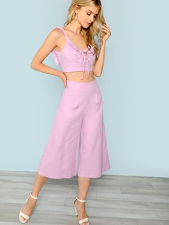 Ruffle Crop Top with Wide Leg Capri Pants