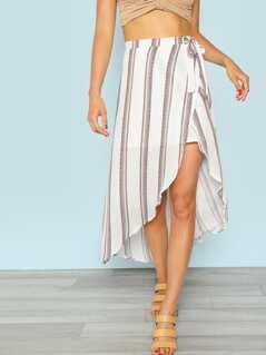 Striped Asymmetric Hem Skirt