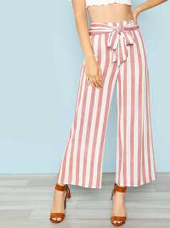 Waist Tie Striped Pants