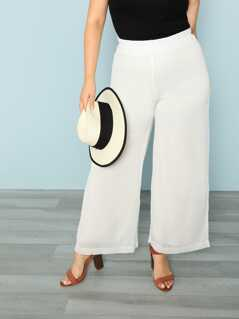 Plus Wide Leg Crinkle Chiffon Pants