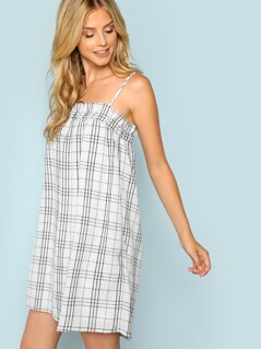 Elastic Neckline Plaid Shift Dress