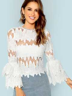 Tiered Ruffle Sleeve Eyelet Lace Blouse
