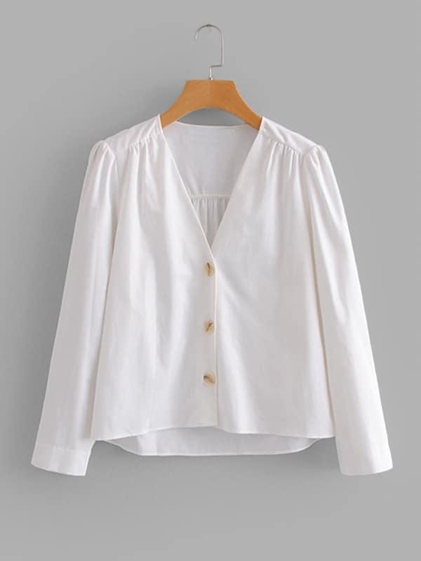 Купить Простая рубашка и с украшением пуговицы перед одежды, null, SheIn