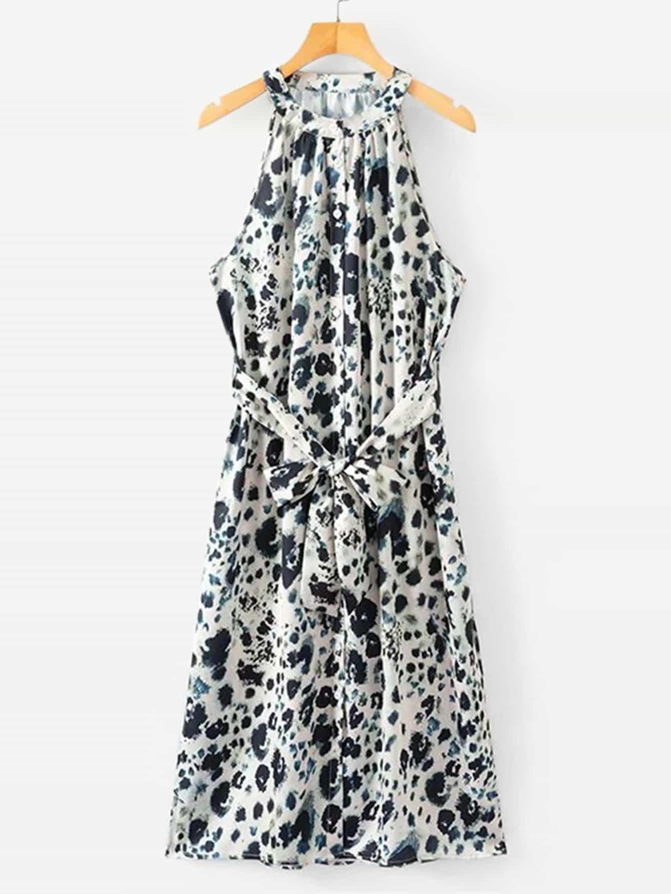 Купить Платье с поясом и с украшением пуговицы, null, SheIn