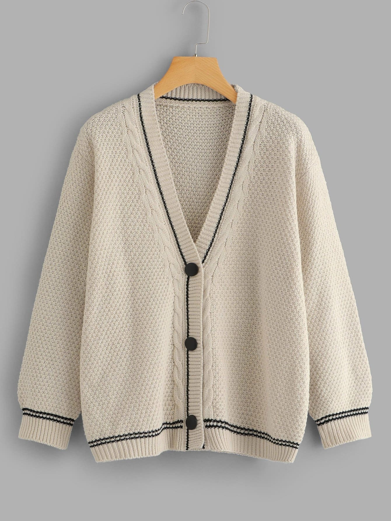 Single Breasted Cable Knit Cardigan