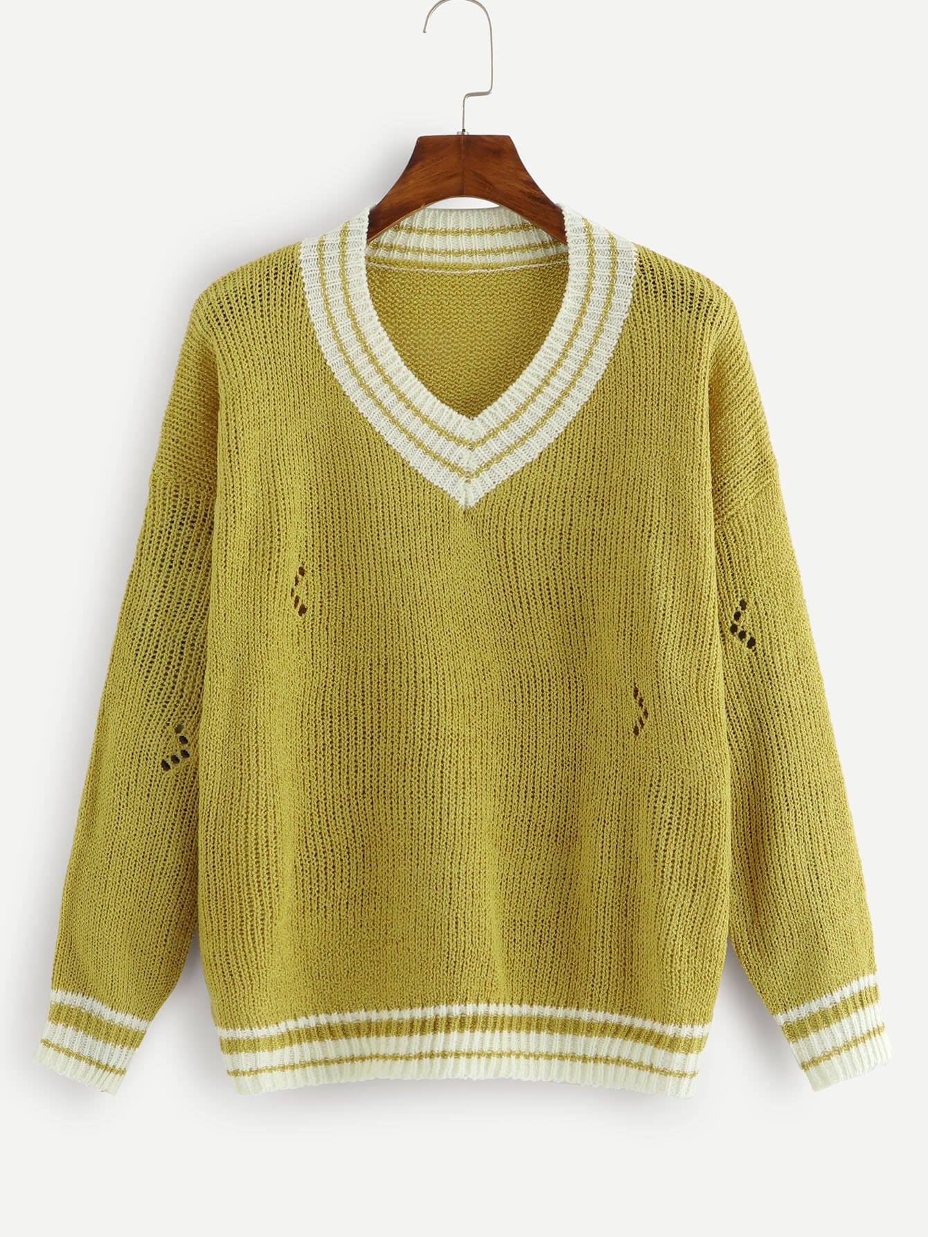 Strick Pullover mit sehr tief angesetzter Schulterpartie und Streifen
