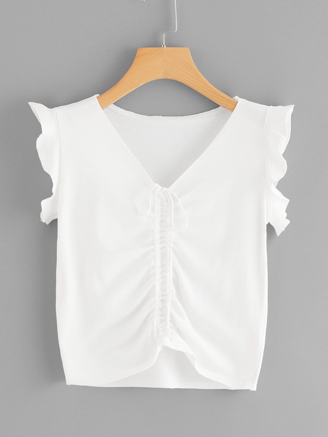Frill Trim Ruched Drawstring Tee