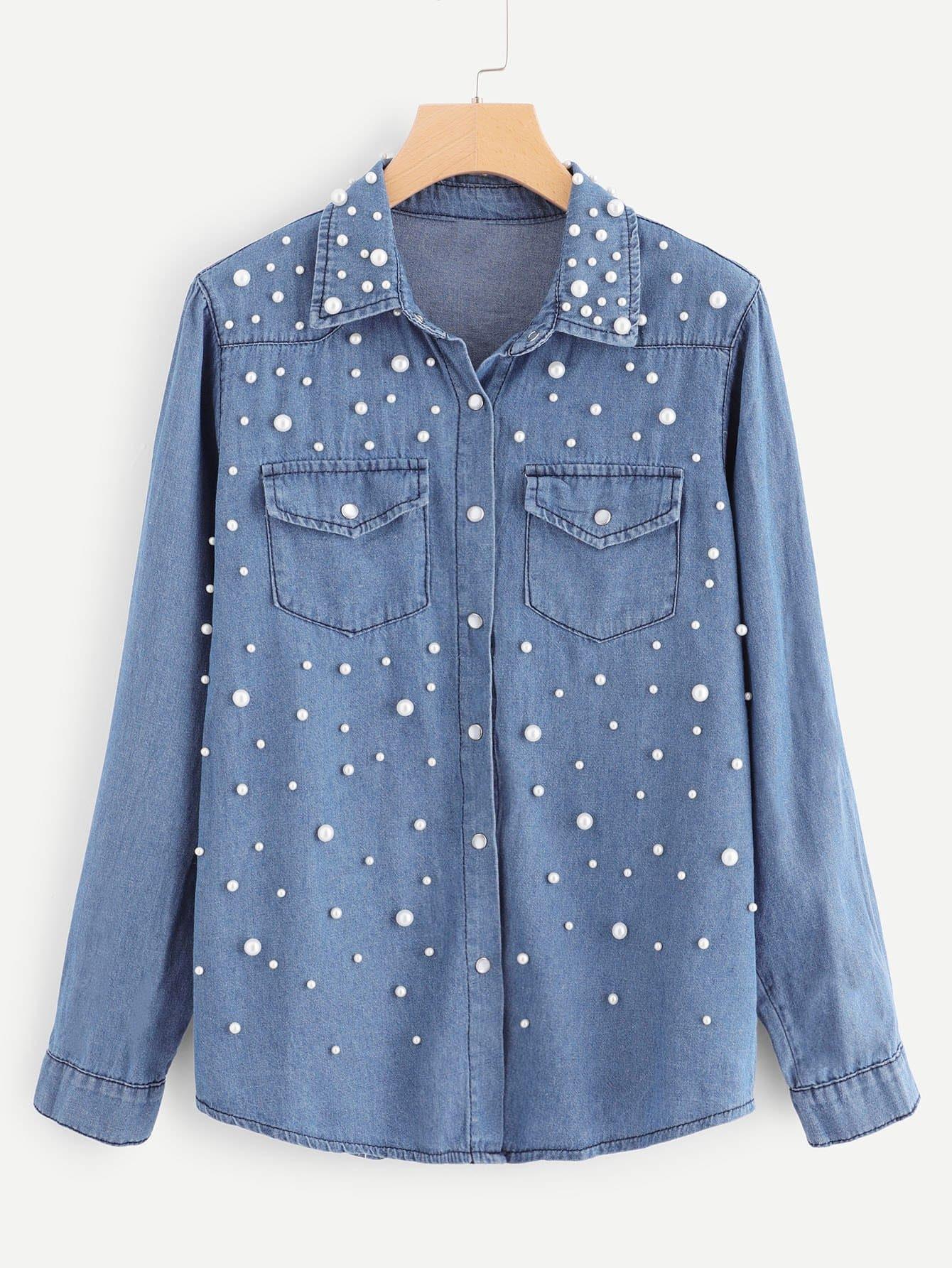 Купить Джинсовая блузка с украшением жемчугов и кармана, null, SheIn