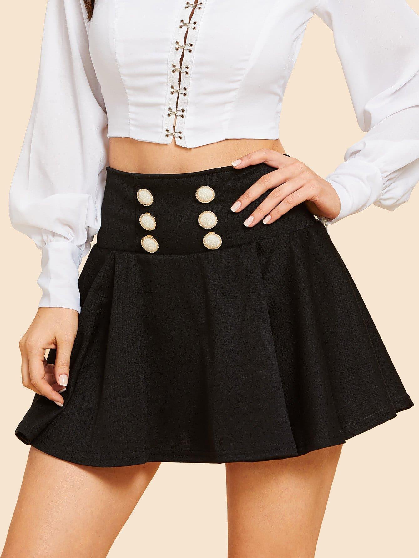 Купить Простая юбка с украшением пуговицы, Julie H., SheIn