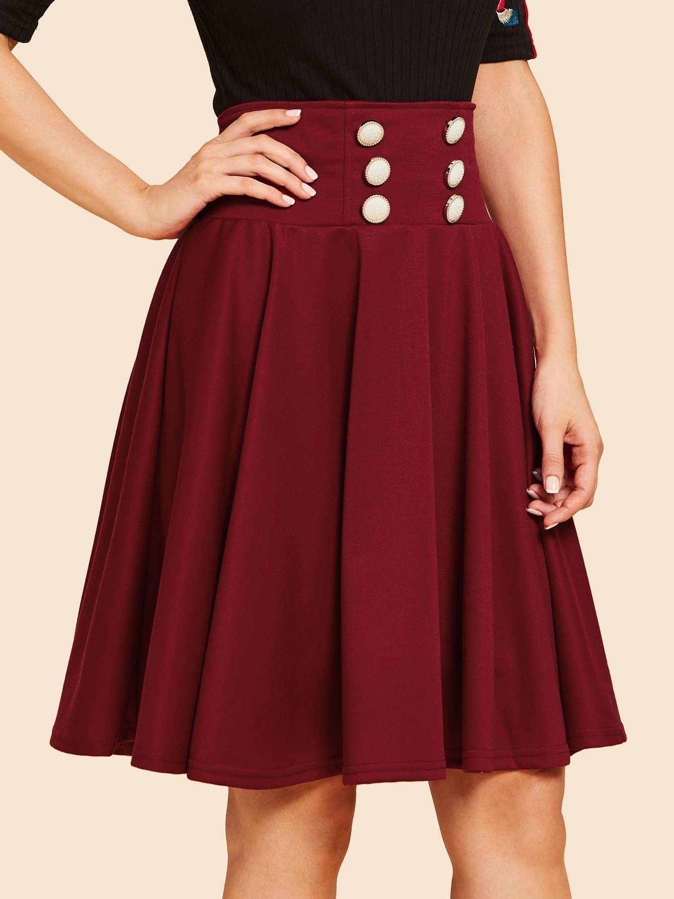 Купить Плиссированная простая юбка с украшением пуговицы, Julie H., SheIn